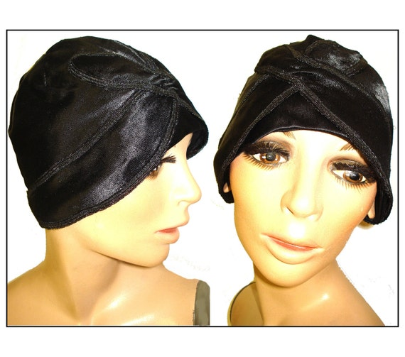 Vintage Cloche Hat 1920s Flapper Roaring 20s Black Satin Steampunk Dress Gibson Girls Art Deco Art Nouveau