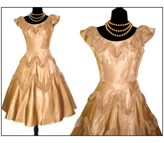 Vintage 50s 1950s Designer Full Circle Dress Couture Mad Men Ballerina Cupcake Femme Fatale Garden Party Prom Pinup Bombshell Rockabilly