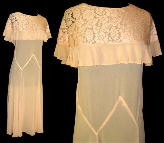 Vintage Late 1920s Early 1930s Dress Cape Collar Steampunk Art Deco Art Nouveau Gatsby Roaring 20s Chiffon Silk Antique Collectible
