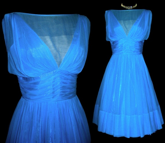 Vintage 1950s Dress Full Skirt Designer Ferman O'Grady Femme Fatale Garden Party Mad Man Prom Pinup Bombshell Rockabilly Ballerina Cupcake