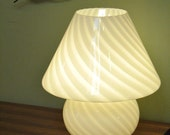 Vintage Glass Murano Lamp by Venini - Lighting from Italy. Whimsical Mushroom Light in two tone white stripes