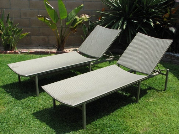 Items similar to mid century modern chaise lounge chairs for Brown and jordan chaise lounge