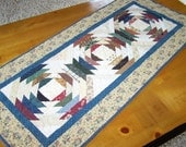 CLEARANCE Pineapple Log Cabin Primitive Table Runner Wall Hanging Quilt in Thimbleberries Fabrics Myra Barnes Busy Hands Quilts
