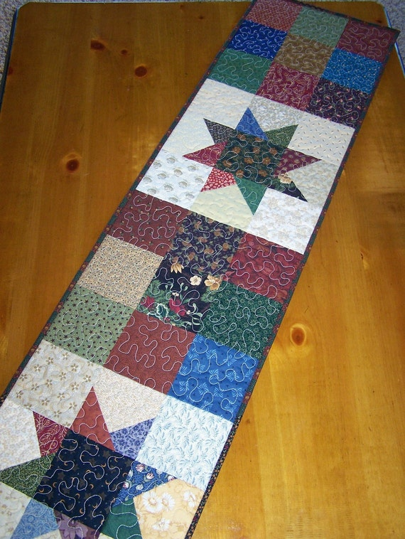 Stars in a 9-Patch Block Scrappy Quilt Table Runner in Thimbleberries