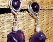 Artful Amethyst Clipon Earrings