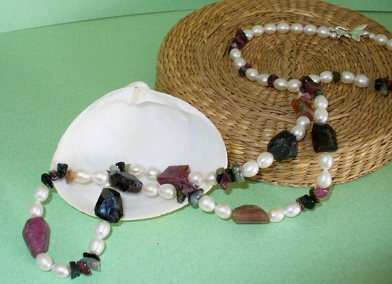 Tourmaline and Freshwater Pearl Necklace