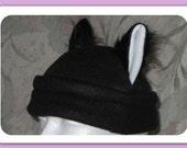 Black fur cat ears anime hat