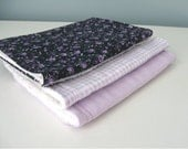 Reserved for Cat- Baby Girl Burp Cloths Purple Set of 6
