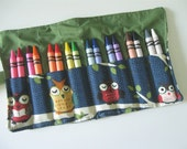 Crayon Roll with 16 Crayons Owls Print Ready to Ship