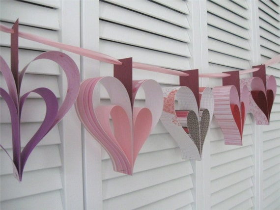SALE Valentine Heart Garland DIY Kit- 5 Hearts in Red, Pink, and Purple