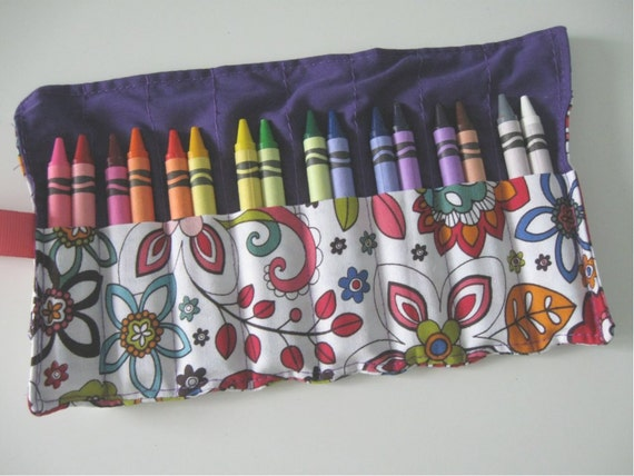 Reserved for Edna- Crayon Roll with 16 Crayons Flowers and Destash Fabric