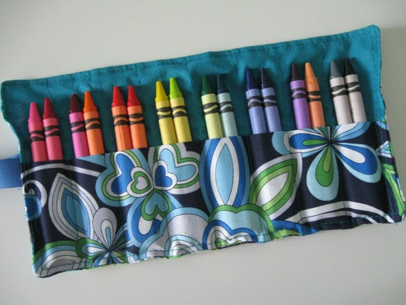 Crayon Roll with 16 Crayons Flowers Ready to Ship