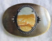 Wonderful Oval Belt Buckle with Southwest Scene Framed in an Oval Mount- great gift for a nature lover