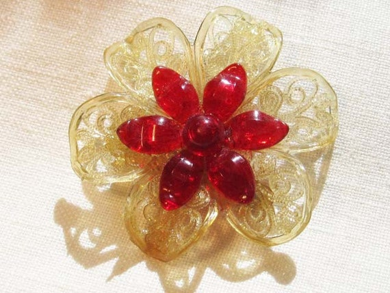 Unique All Plastic Red and Clear Filigreed Flower - Vintage jewelry