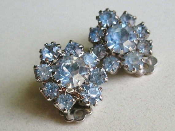 Borrowed and Blue Rhinestone Earrings for the Bride or Anyone - Light Blue Small Clip-Ons - vintage jewelry