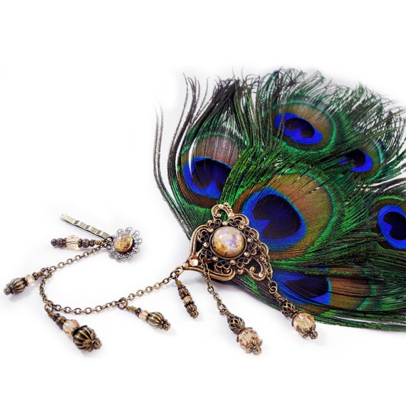 Steampunk headdress - Peacock feathers, Glass opal & Swarovski Elements - TicToc Peacock DELUXE - Steampunk Diva Collection