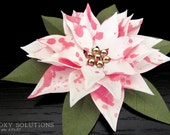 Poinsettia: Paper Flower - Pink & White - 4 inches
