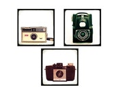 25% OFF 3 Vintage Cameras - Fine Art Photography Prints of Classic Cameras - set of 3 8x8s