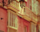 Spain Photography - A Light in the Piazza - Fine Art Photography Print of Pastel Buildings in Spain
