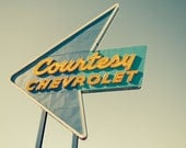 Vintage American Neon Road Sign - American - Retro Chevrolet,chevy sign in blue and yellow