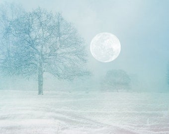 "Winter Photography, Fine Art Photography Print of winter snow scene with full moon - ""Christmas in London"""