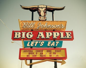 Old Road sign photography, Route 66 art print, large art print, neon American signs photo - Bill Johnson's Big Apple