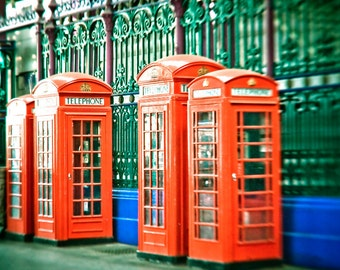 "Travel photography, London print, London phone boxes, large photography - ""Connected"""