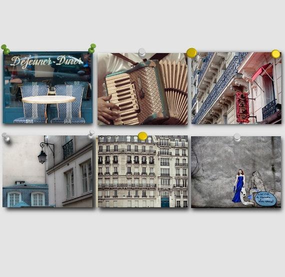 Paris Photography Set - Paris in Blue - Collection of six fine art photographs of Paris