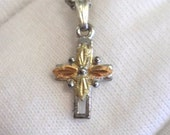 Black Hills Gold Necklace- 4 Leaf Cross Pendant - FREE SHIPPING in USA
