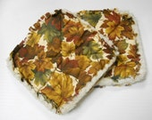 Fall Leaves Print - Pair of Quilted Fabric Pot Holders