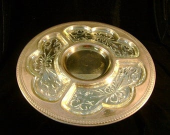 Silver Plated Lazy Susan with Glass Inserts