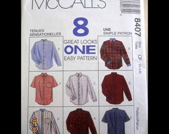 McCall's 8407 Boys' Shirts  Size 4, 5, 6