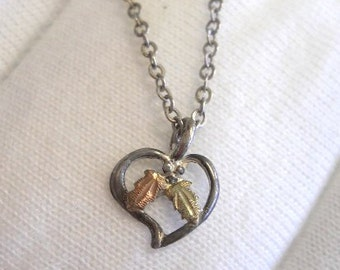 Black Hills Gold Necklace- Leaf & Heart Pendant - FREE SHIPPING within USA