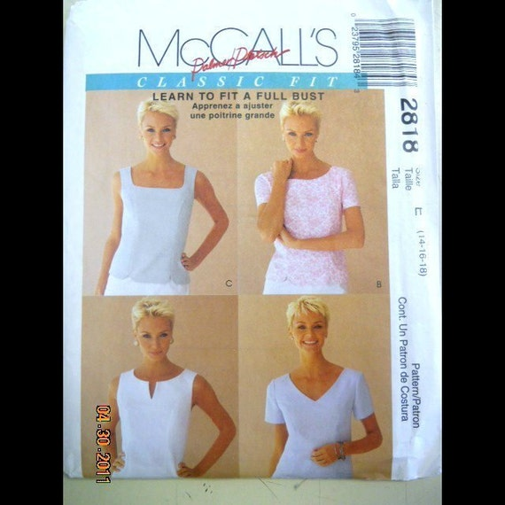 McCall's 2818 Misses' Tops  Size 14, 16, 18