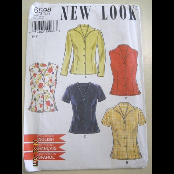 New Look 6598 Misses' Blouses  Sizes 8-18