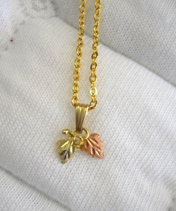 Black Hills Gold Necklace- 2 leaves B - FREE SHIPPING in USA
