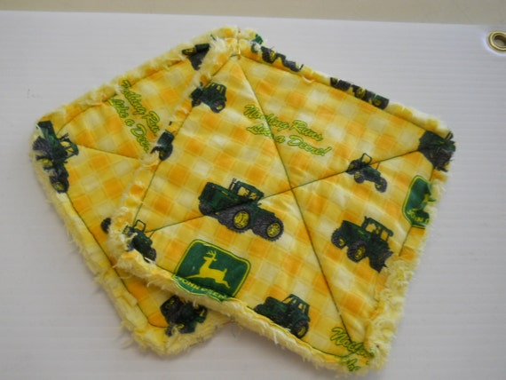 John Deere Print - Pair of Quilted Fabric Pot Holders