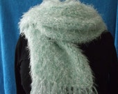 Mint green long scarf- fringed- long- pastal green- snuggley- cozy-  wrap around. knit scarf.