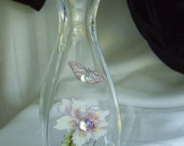 Butterfly and flower vase  with transfers and crystals.