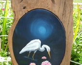 Florida native Great White Haron original oil painting set in cypress wood frame.