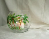 Candle votive,  holder, hand painted with tropical palm trees. Great table setting.