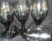 Smokey colored gobblet, wine glasses. Covered with glittery stars. Wonderful for Valentine gifts, celabrate.