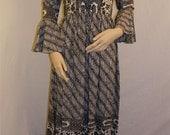 "Vintage Black and White ""Victor Costas"" Patterned Dress"