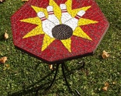 Red Yellow Stained Glass Mosaic Bowling Table