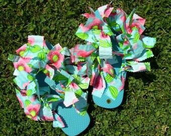 Watermelon Turquoise Cute Summer Flip Flops
