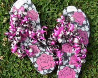 Hot Pink Flower Ribbon Ladies Cute Flip Flops
