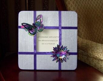 Lavender Purple Butterfly & Flower Frame