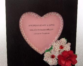Black, Red & White Valentine Heart Frame Pretty Reminder Board