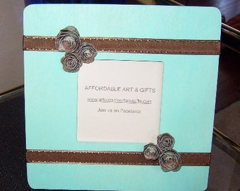 Turquoise & Brown Flower Frame  Pretty Reminder Board Wedding Reception Table Numbers
