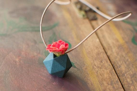 Miniature Icosahedron in Aqua: A Wearable Planter